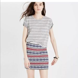 Madewell Embroidered Aztec/Jacquard Striped Skirt
